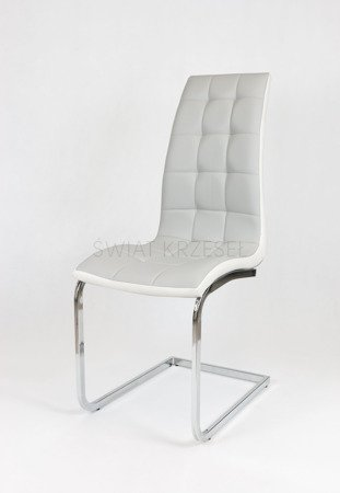 SK DESIGN KS027 LIGHT GREY SYNTHETIC LETHER CHAIR WITH CHROME RACK