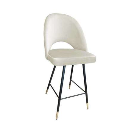 Upholstered stool LUNA in ivory color MG-50 material with a golden leg