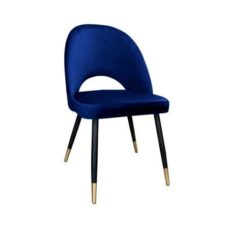 Blue upholstered LUNA chair material MG-16 with golden leg