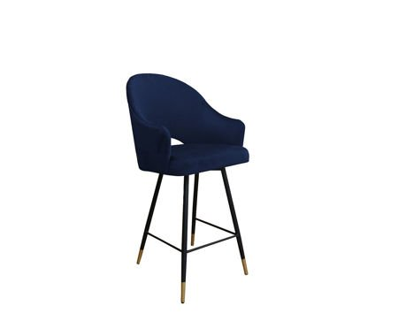 Dark blue upholstered armchair DIUNA armchair material MG-16 with golden leg