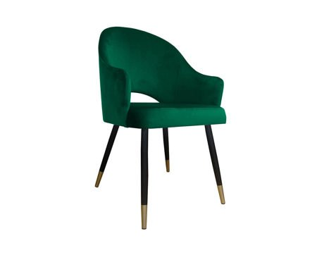 Dark green upholstered chair DIUNA armchair material MG-25 with golden legs