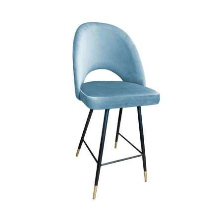 Gray-blue upholstered LUNA hoker material BL-06 with golden leg