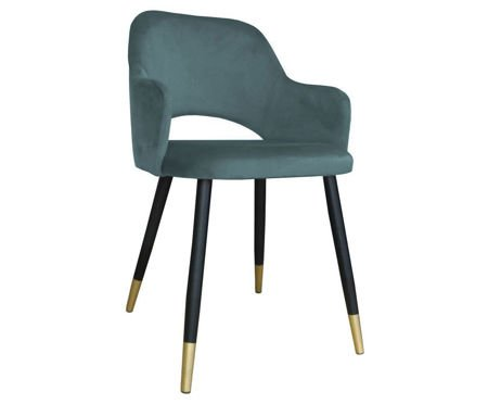 Gray-blue upholstered STAR chair material BL-06 with golden leg