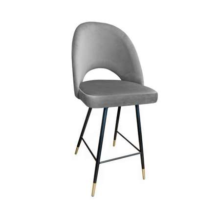 Gray upholstered LUNA hoker material MG-17 with a gold leg