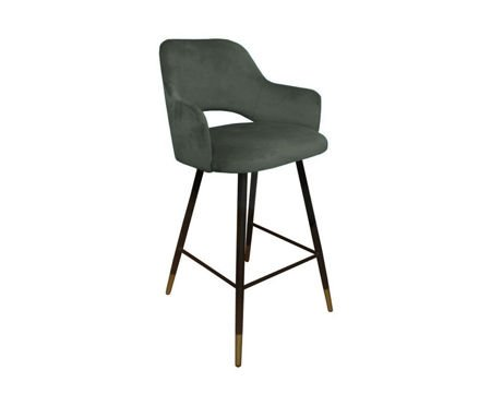 Gray upholstered STAR hoker material MG-17 with a gold leg