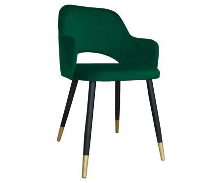 Green upholstered STAR chair material MG-25 with golden leg
