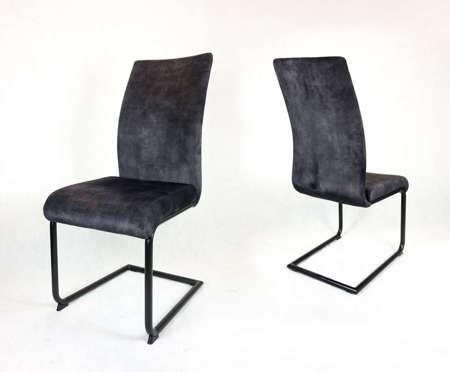 Jasnoszare tapicerowane krzesło fotel LILI nogi czarne