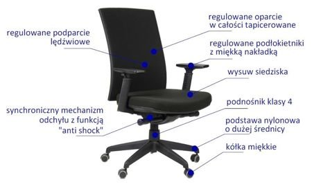 Krzesło Fotel obrotowy Korfu - Czarny