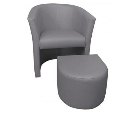 Light gray CAMPARI armchair with footrest