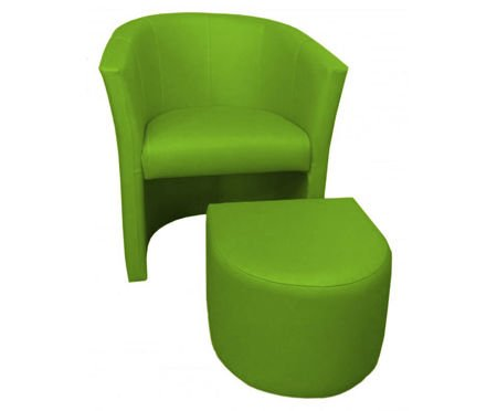 Olive CAMPARI armchair with footrest