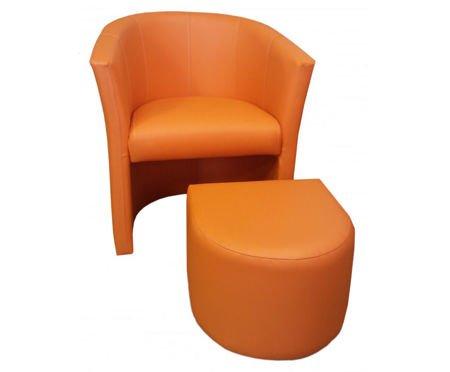 Orange CAMPARI armchair with footrest