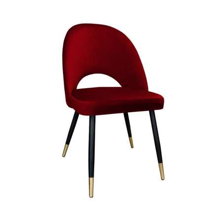 Red upholstered LUNA chair material MG-31 with golden leg