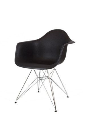 SK DESIGN KR012F BLACK ARMCHAIR CHROME