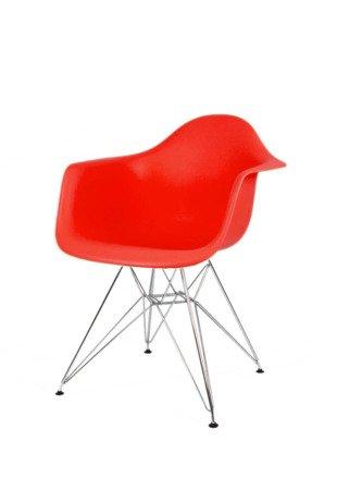 SK DESIGN KR012F RED ARMCHAIR CHROME
