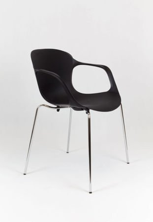 SK DESIGN KR018 BLACK CHAIR ON METAL FRAME