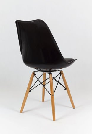 SK Design KR020 Black Chair with Wooden Legs - Cushion