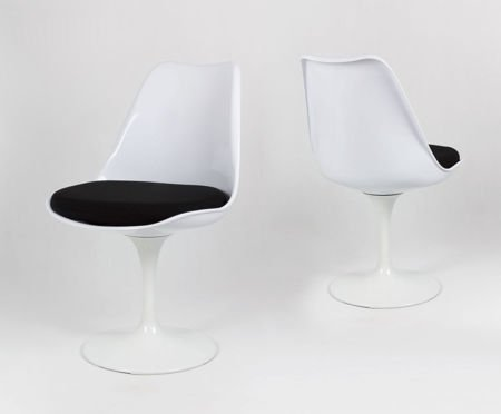 SK Design KR029 White Swivel Chair + Cushion