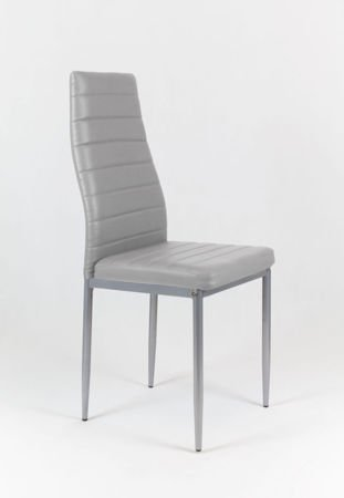 SK Design KS001 Light Grey Synthetic Leather Chair, Grey frame