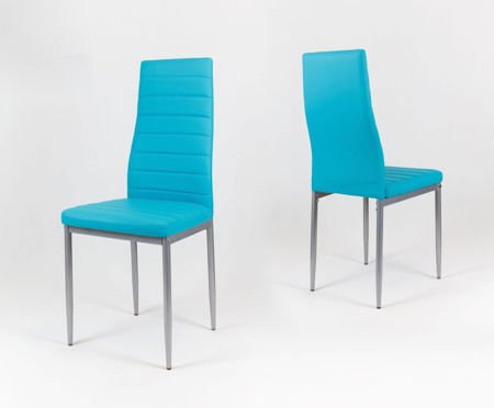 SK Design KS001 Turquoise Synthetic Leather Chairon a Painted Frame
