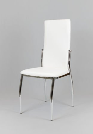 SK Design KS004 White Synthetic leather chair with chrome rack