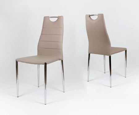OUTLET SK Design KS005 Beige Synthetic Leather Chair with Chrome Rack