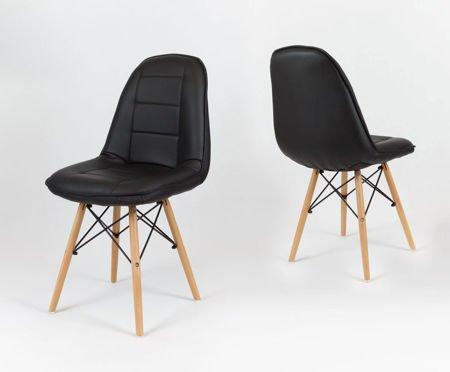 SK Design KS009 Black Synthetic leather chair with wooden legs