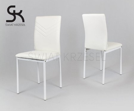 SK DESIGN KS018 WHITE SYNTHETIC LETHER CHAIR WITH CHROME RACK