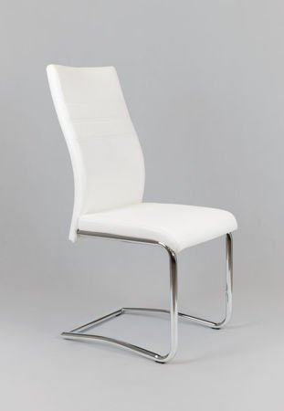 SK DESIGN KS021 WHITE Synthetic lether chair with chrome rack