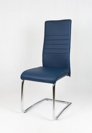 SK DESIGN KS022 DARK BLUE Synthetic lether chair with chrome rack