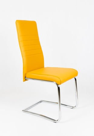SK DESIGN KS022 HONEY Synthetic lether chair with chrome rack