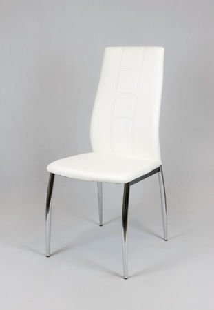 SK DESIGN KS026 WHITE Synthetic lether chair with chrome rack