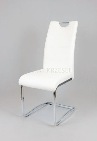 SK DESIGN KS030 WHITE Synthetic lether chair with chrome rack