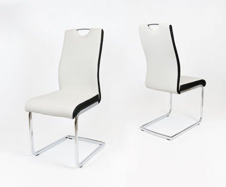 SK DESIGN KS037 WHITE SYNTHETIC LETHER CHAIR WITH CHROME