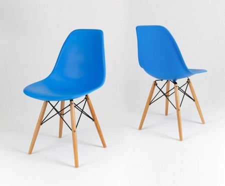 SK Design KR012 Blue Chair, Beech legs