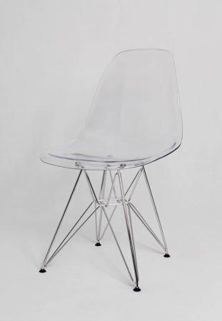 SK Design KR012 Clear Chair, Chrome legs