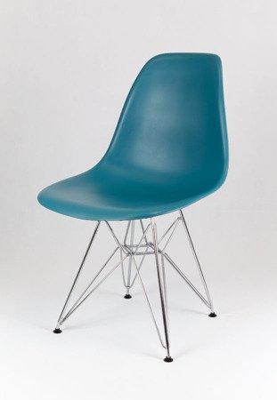 SK Design KR012 Navy Freen Chair, Chrome legs