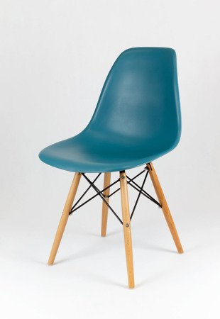 SK Design KR012 Navy Green Chair, Beech legs