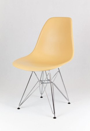 SK Design KR012 Sand Beige Chair, Chrome legs