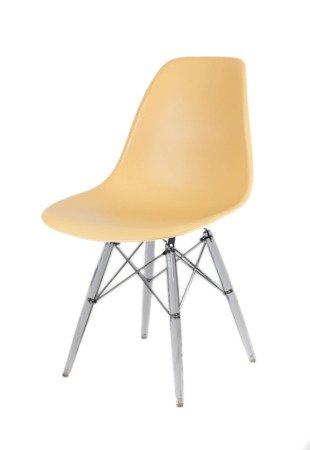 SK Design KR012 Sand Beige Chair, Clear legs