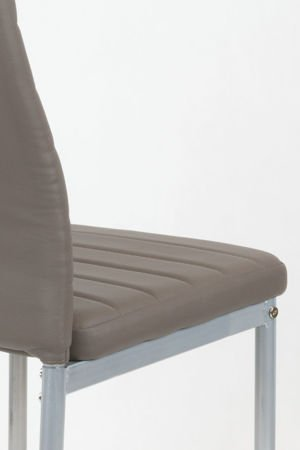 SK Design KS001 Brown-Grey Synthetic Leather Chairon a Painted Frame