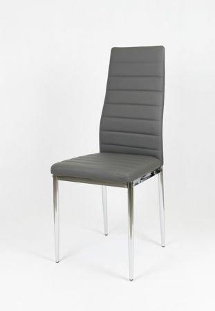 SK Design KS001 Dark Grey Synthetic Leather Chair, Chrome Rack