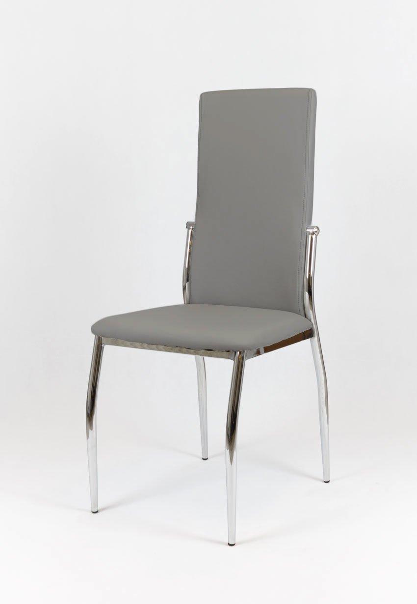 Sk design ks004 grau kunsleder stuhl mit chromgestell grau for Designer stuhl grau