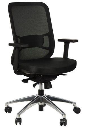 Fotel biurowy gabinetowy obrotowy wysuwane siedzisko Kuba - czarny aluminium