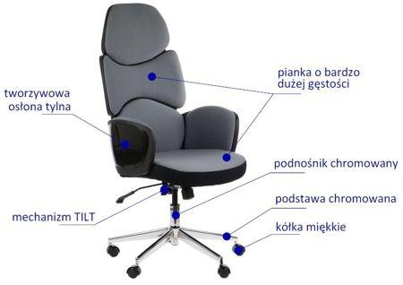 Fotel obrotowy AMBON - SZARY/CZARNY