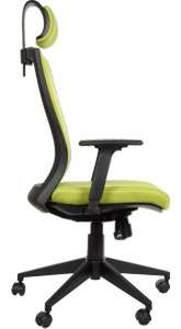 Fotel obrotowy biurowy z mechanizmem synchronicznym, zagłówkiem i regulowanymi podłokietnikami - BORA ZIELONY