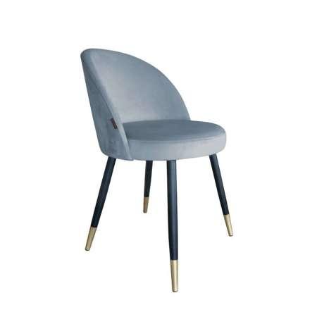 Grau-blau gepolsterter Stuhl CENTAUR Material BL-06 mit goldenen Bein