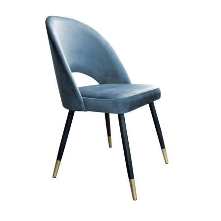 Grau-blau gepolsterter Stuhl LUNA Material BL-06 mit goldenem Bein