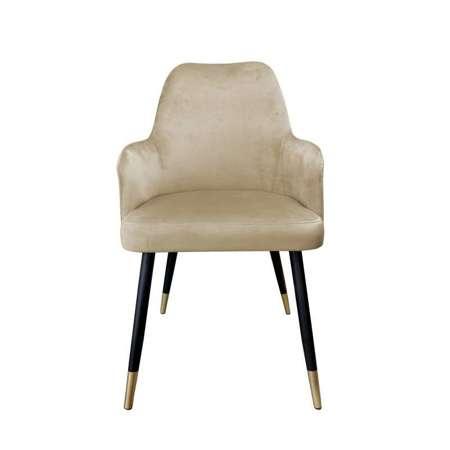 Hellbraun gepolsterter Stuhl PEGAZ Material MG-06 mit goldenen Bein