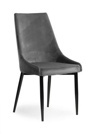 LUIS VELVET Stuhl grau / schwarzes Bein