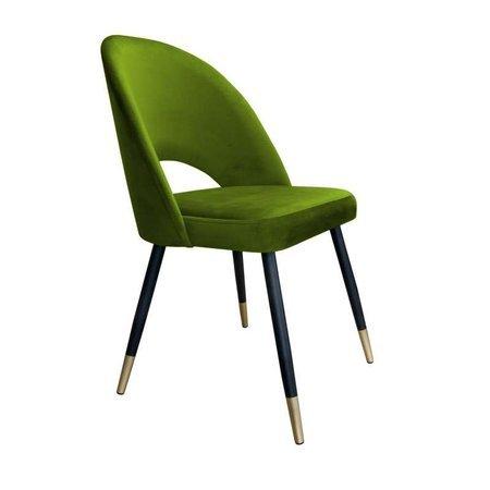 Oliv gepolsterter Stuhl LUNA Material BL-75 mit goldenem Bein